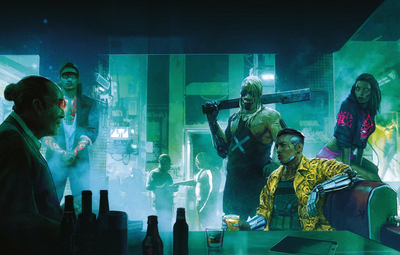 Photo wallpaper Figure, The city, The game, Neon, People, Art, Cyborg, CD Projekt RED, Cyberpunk 2077, Cyberpunk, …