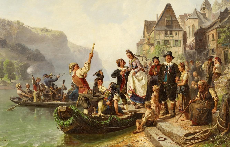 Photo wallpaper 1859, German painter, German painter, oil on canvas, The Dusseldorf school of art, Düsseldorf school …