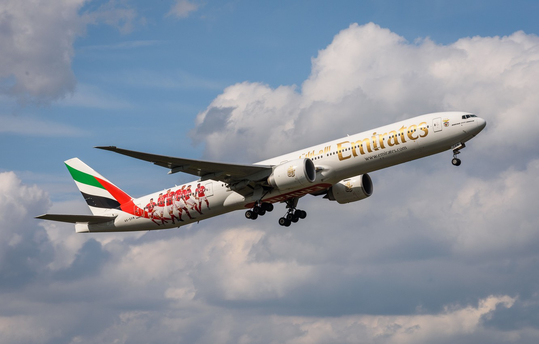Photo wallpaper Emirates, Boing, 777-300 HE