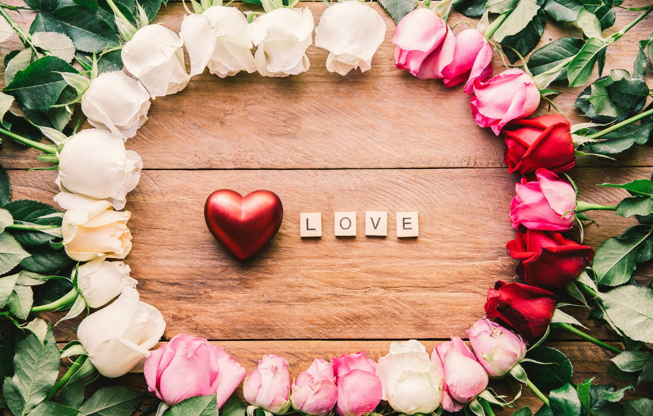 Photo wallpaper love, heart, roses, red, red, love, white, heart, pink, flowers, romantic, roses