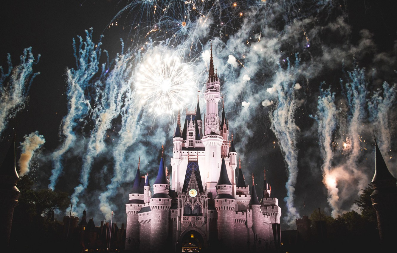 Photo wallpaper castle, France, Paris, Night, fireworks, Paris, Disneyland, France, castle, Disneyland, Cinderella castle, disney world