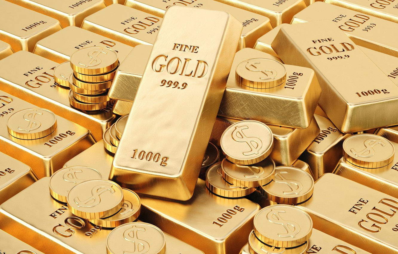 Photo wallpaper gold, money, bars