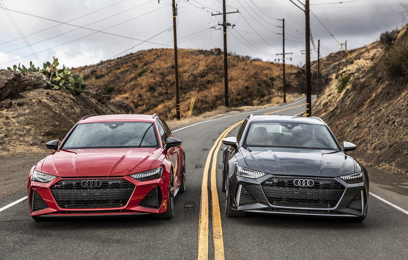 Photo wallpaper Audi, RED, Before, RS6, ROAD, GREY