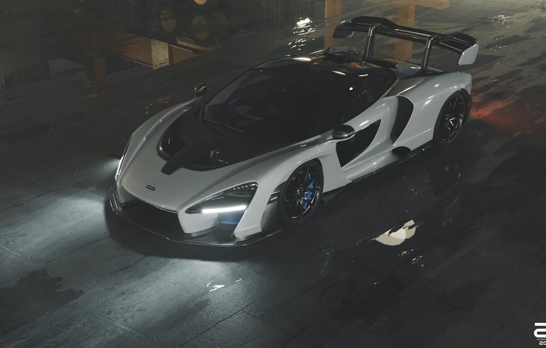 Photo wallpaper McLaren, Auto, White, Machine, Male, Supercar, Sports car, Senna, Transport & Vehicles, Zoki Nanco, by …