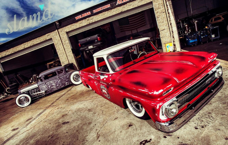 Photo wallpaper Cars, Old, Custom, Garage, C10