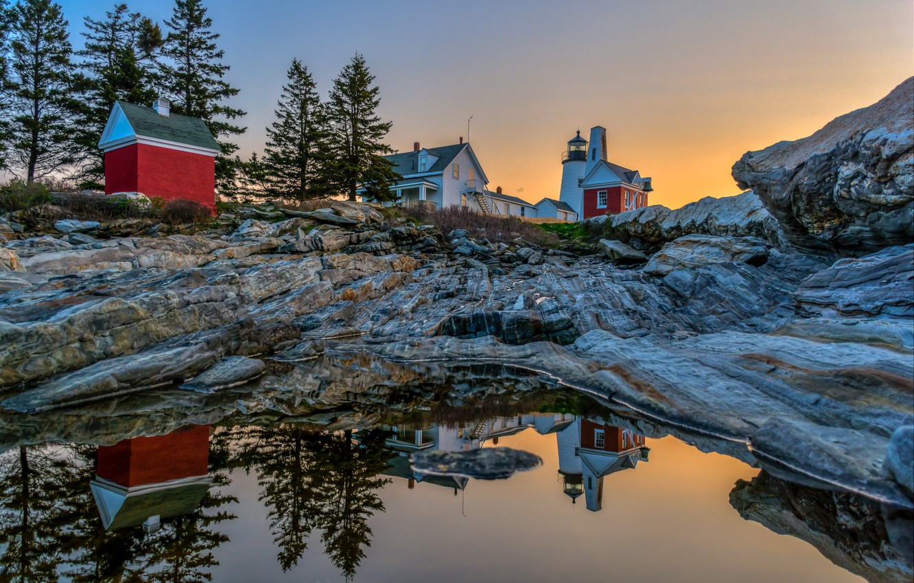 Photo wallpaper water, trees, landscape, reflection, stones, dawn, lighthouse, home, morning, USA, Pemaquid Point Lighthouse