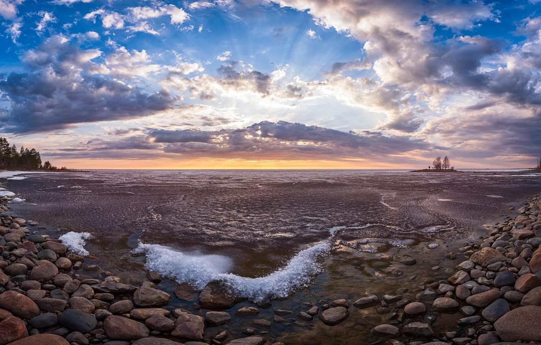 Photo wallpaper sunset, nature, lake, shore
