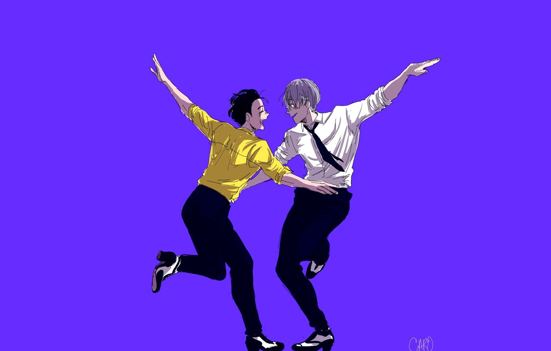 Photo wallpaper dance, art, purple background, Yuri on Ice, Yuri on the ice, Viktor Nikiforov, Yuri Katsuki