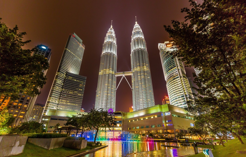 Photo wallpaper night, lights, tower, fountain, Malaysia, Kuala Lumpur