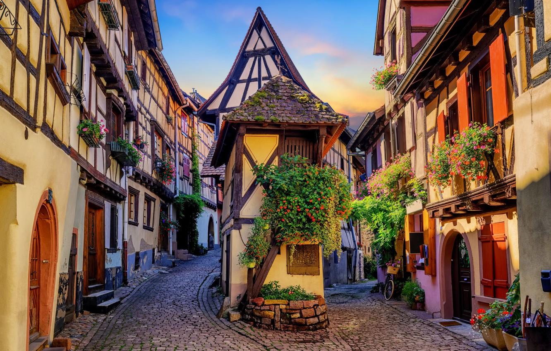Photo wallpaper flowers, street, France, home, Alsace, Eguisheim, Eguisheim