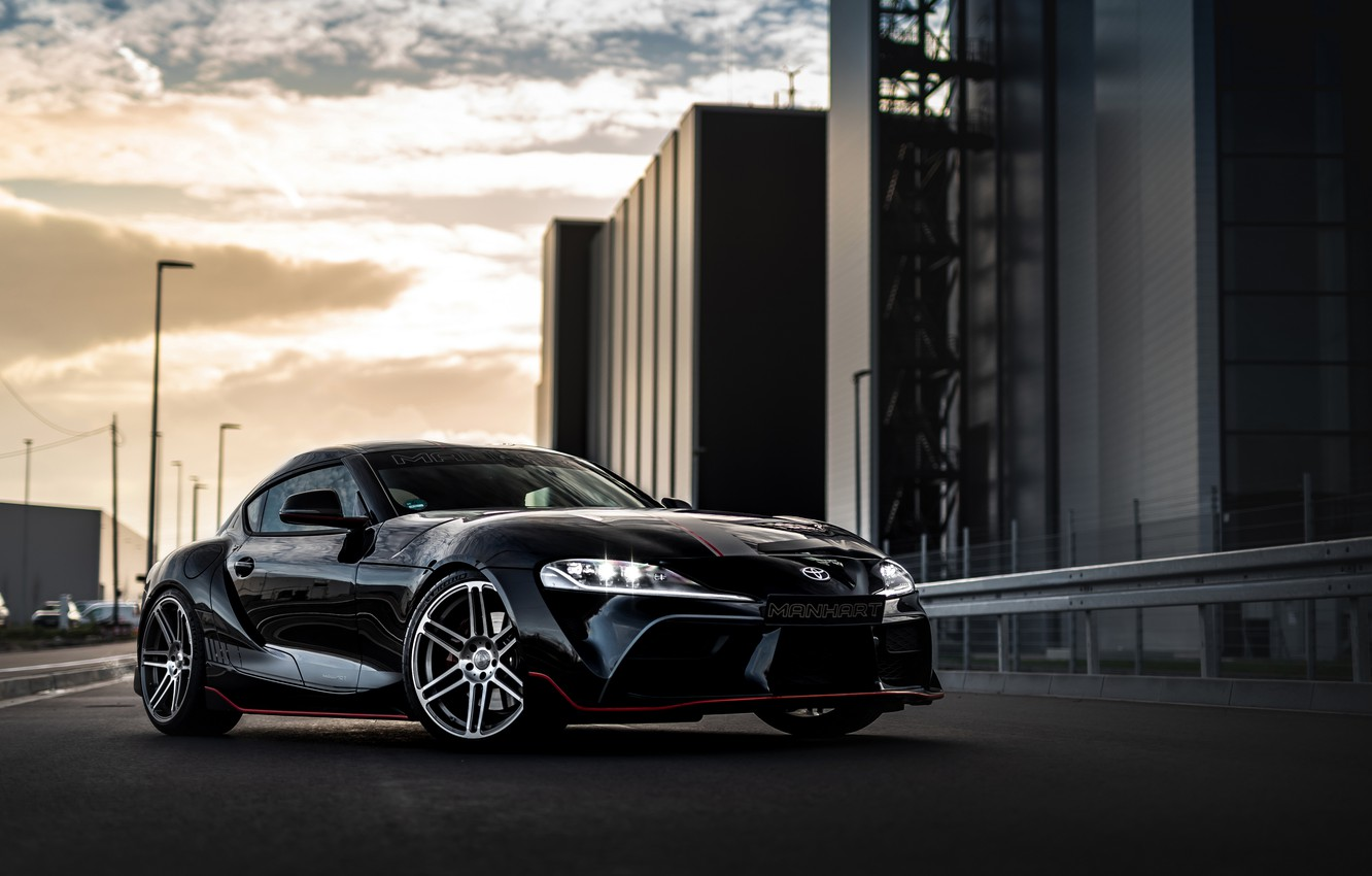 Photo wallpaper road, black, street, coupe, Toyota, Supra, the fifth generation, mk5, Manhart, double, 2020, GR Above, …