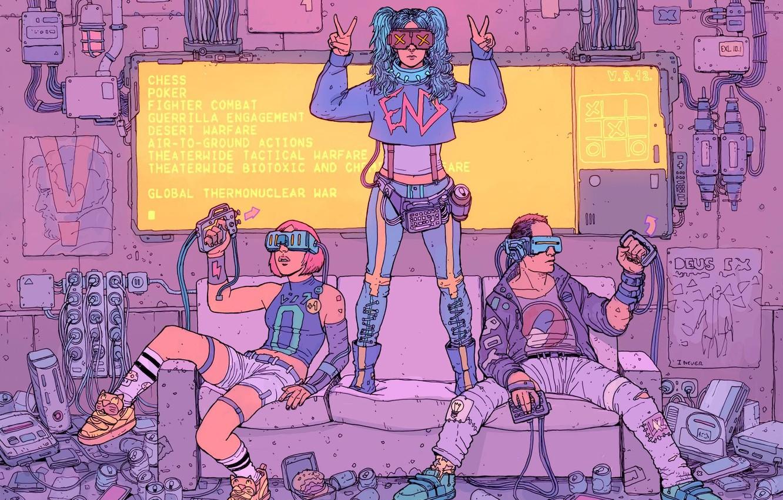 Photo wallpaper Girl, Girls, Figure, Sofa, Glasses, Room, Guy, Garbage, Fantasy, Art, Art, Fiction, Cyberpunk, Cyberpunk, Line …