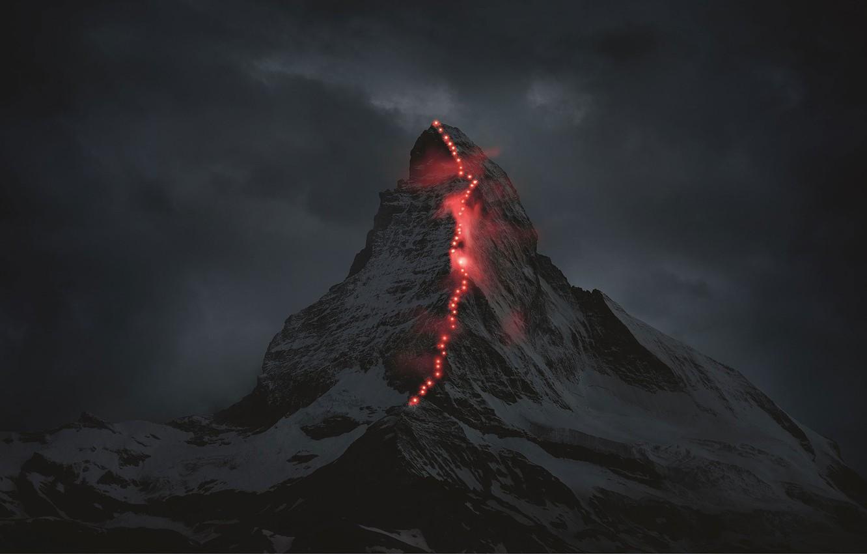 Photo wallpaper Lights, Mountain, Climbing