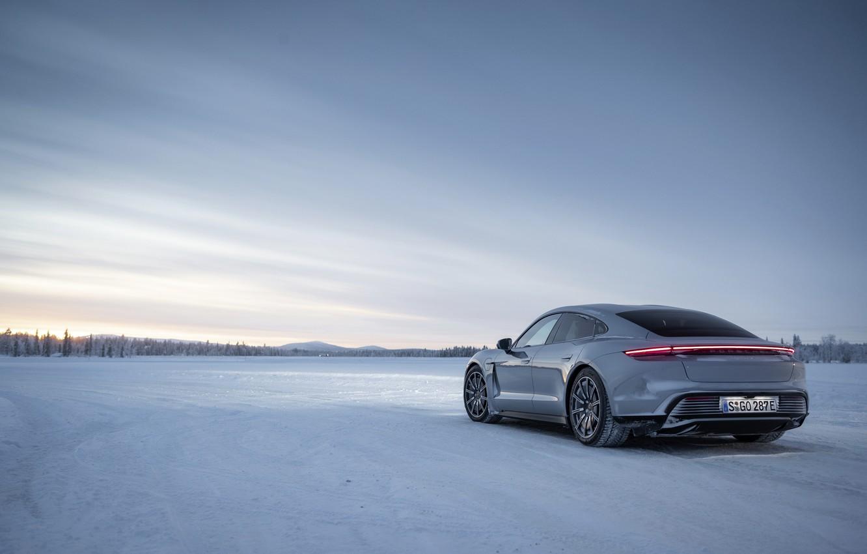 Photo wallpaper cold, winter, snow, grey, Porsche, 2020, Taycan, Taycan 4S