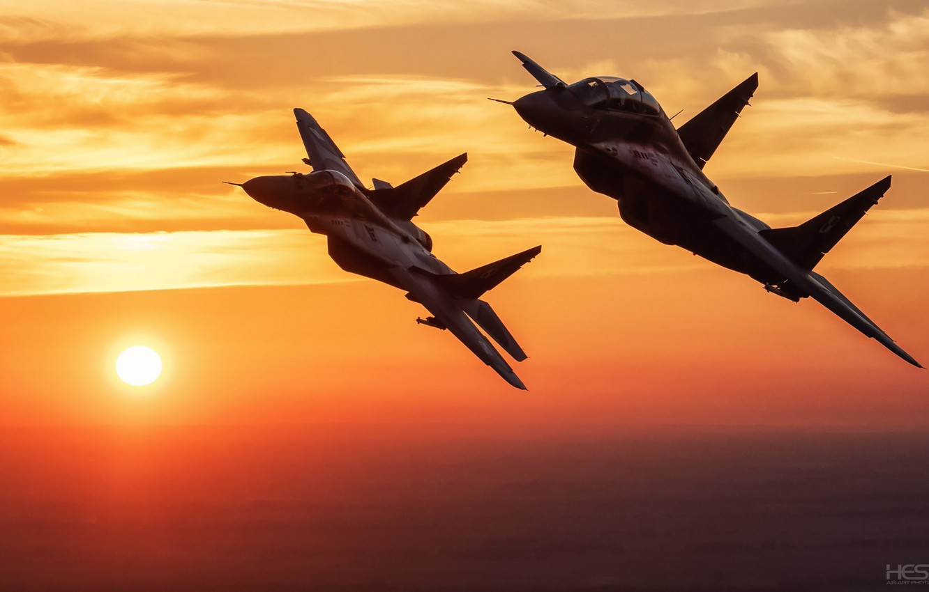 Wallpaper Sunset The Sky Clouds Fighter The Mig 29