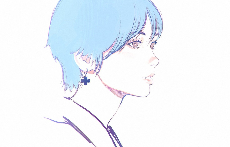 Photo wallpaper haircut, white background, profile, sponge, blue hair, bangs, portrait of a girl, Ilya Kuvshinov