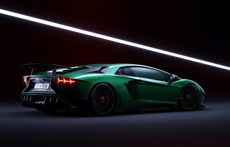 Photo wallpaper Lamborghini, Green, Aventador, Artwork, CGI, Aventador SV