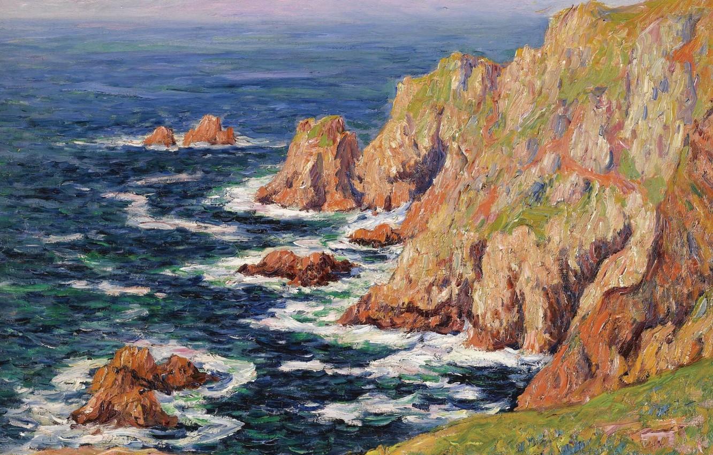 Photo wallpaper sea, landscape, rocks, picture, Henri Sea, Henry Moret, Wild Coast