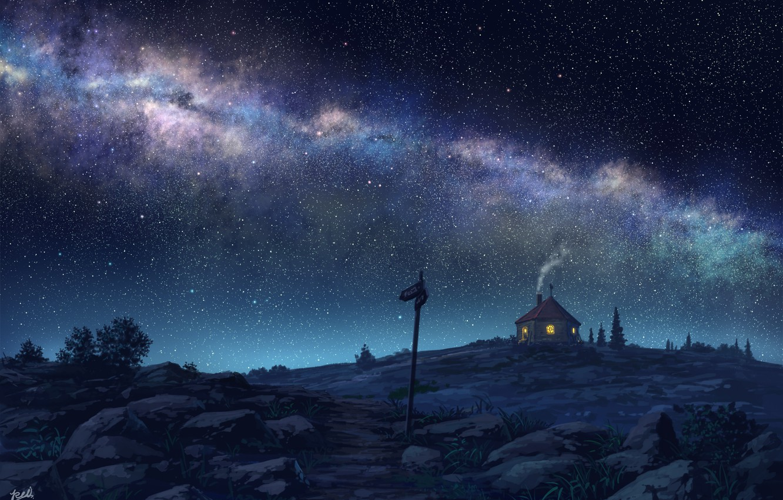 Photo wallpaper night, house, the milky way, starry sky