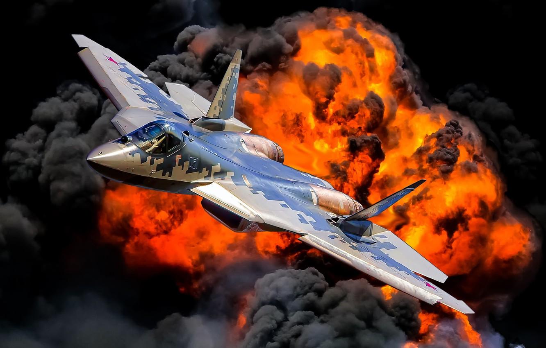 Photo wallpaper the explosion, fire, flame, multi-role fighter, Videoconferencing Russia, the fifth generation fighter, Su-57, Su-57