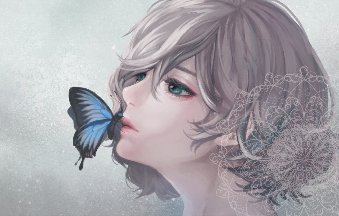 Photo wallpaper girl, butterfly, lace