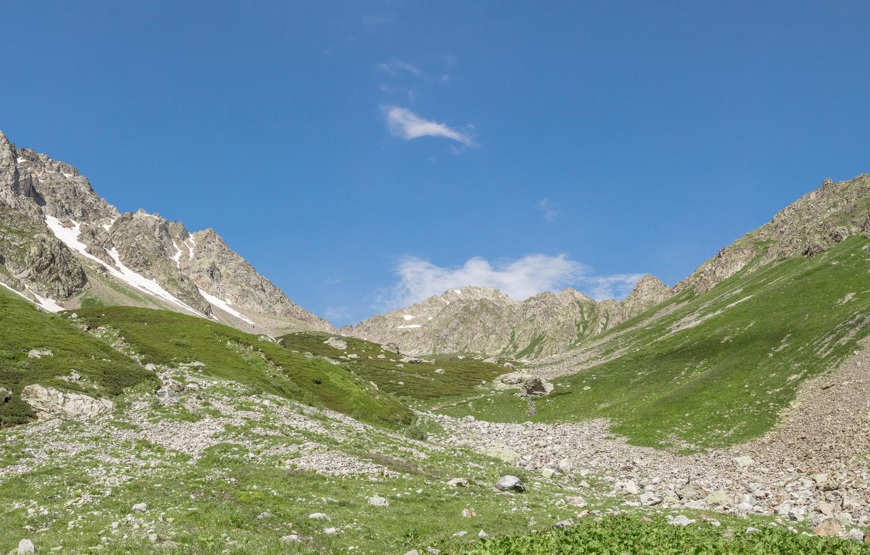 Photo wallpaper mountains, panorama, widescreen Wallpaper, the Caucasus, Arkhyz, Alpine meadows, wide Wallpaper, valley in the mountains