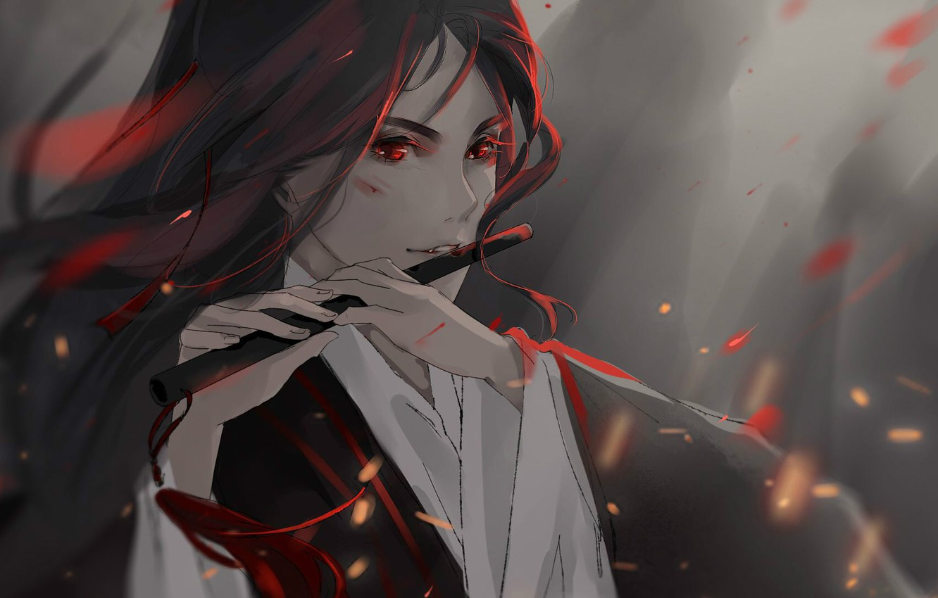 Photo wallpaper fog, hands, sparks, flute, red eyes, long hair, abrasion, Mo Dao Zu Shi, Master evil …