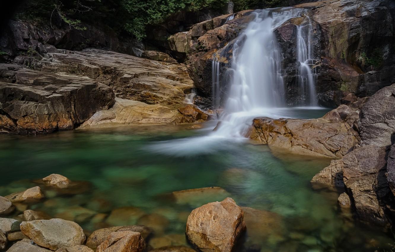 Photo wallpaper waterfall, stream, jets of water