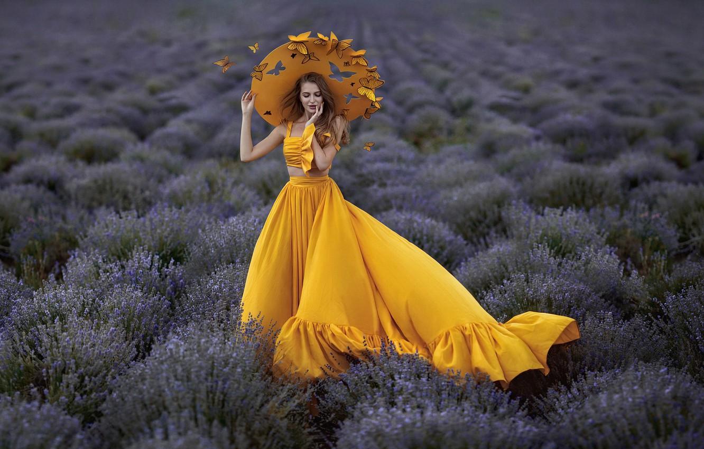 Photo wallpaper girl, butterfly, style, hat
