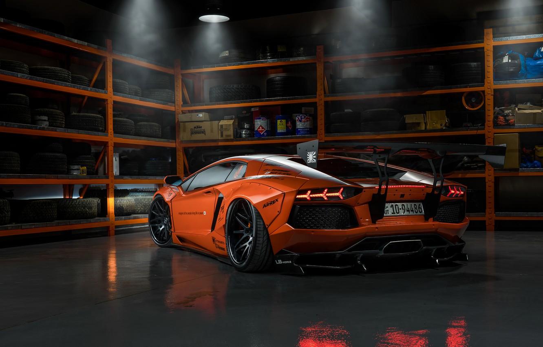 Photo wallpaper Lamborghini, tuning, garage, Aventador, Liberty Walk, LB Performance