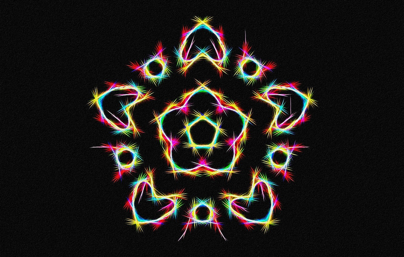 Photo wallpaper abstraction, fantasy, figure, star, fractal, black background, picture, canvas, mandala, acrylic paint