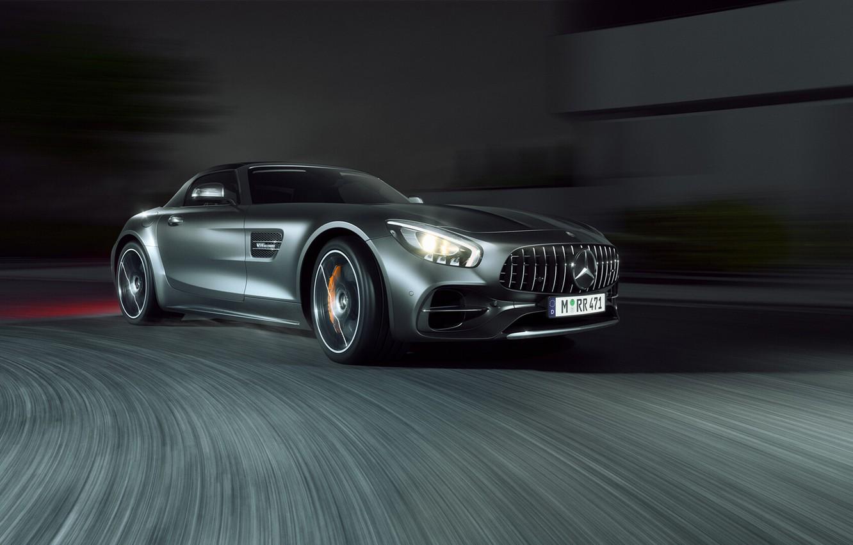 Photo wallpaper Auto, Night, Machine, Grey, Car, Mercedes-Benz AMG, Transport & Vehicles, Mercedes-Benz AMG GT C Roadster, …