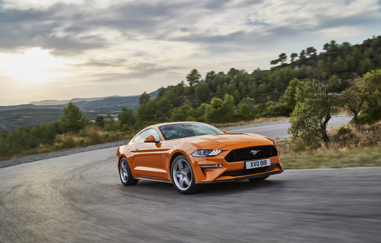 Photo wallpaper orange, movement, Ford, turn, 2018, fastback, Mustang GT 5.0