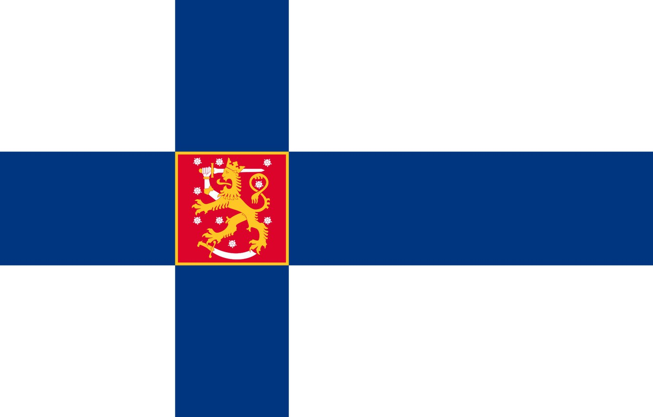 Photo wallpaper flag, coat of arms, fon, flag, Finland, finland, coat of arms