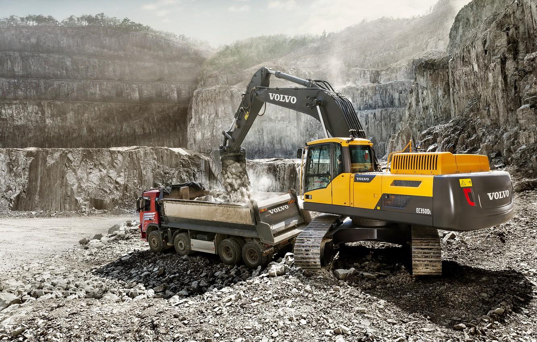 Photo wallpaper stone, Volvo, cabin, excavator, caterpillar, truck, bucket, quarry, dump truck, loading, construction equipment, the excavator …