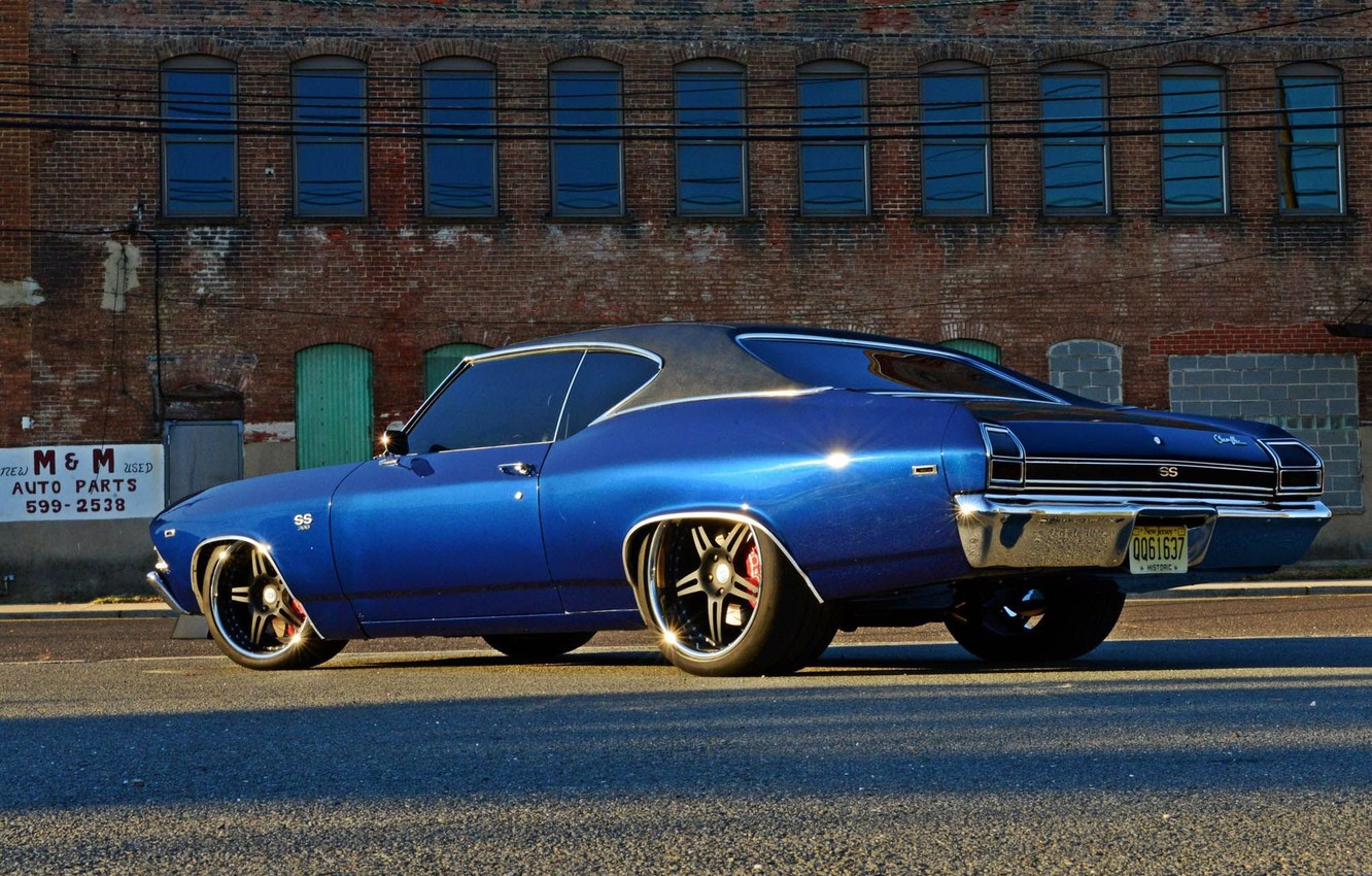 Photo wallpaper Chevrolet Chevelle SS, 1969, Blue, Coupe, Muscle car, Vehicle