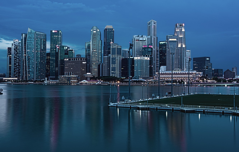 Photo wallpaper nature, the ocean, The city, Singapore, megopolis