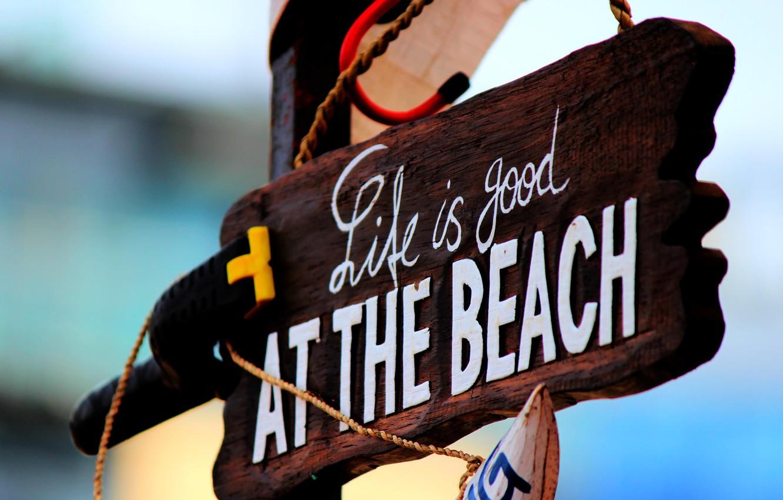 Photo wallpaper Beach, Macro, Sign