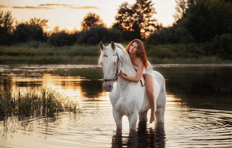 Photo wallpaper river, horse, horse, rider, Sergey Rybin