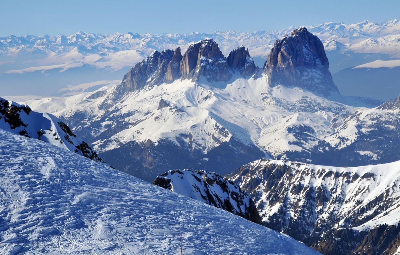 Photo wallpaper winter, the sky, snow, landscape, mountains, morning, sky, landscape, winter, mountain, snow, morning