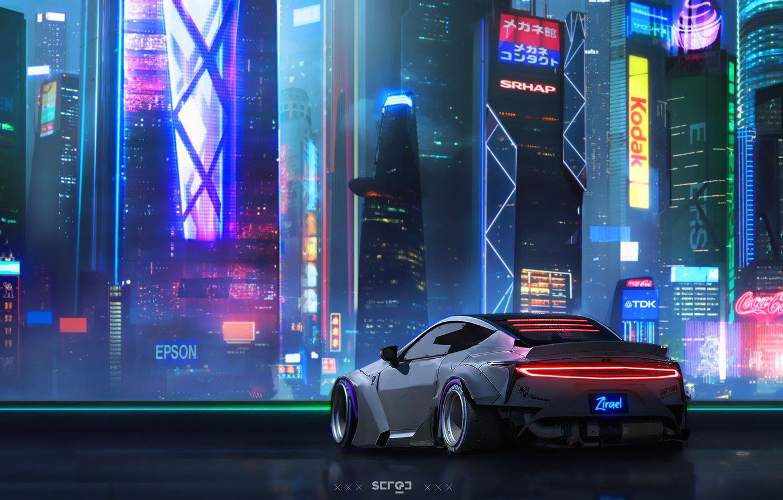 Photo wallpaper Auto, Night, The city, Neon, Machine, City, Art, Neon, Concept art, Concept Art, Cyberpunk 2077, …