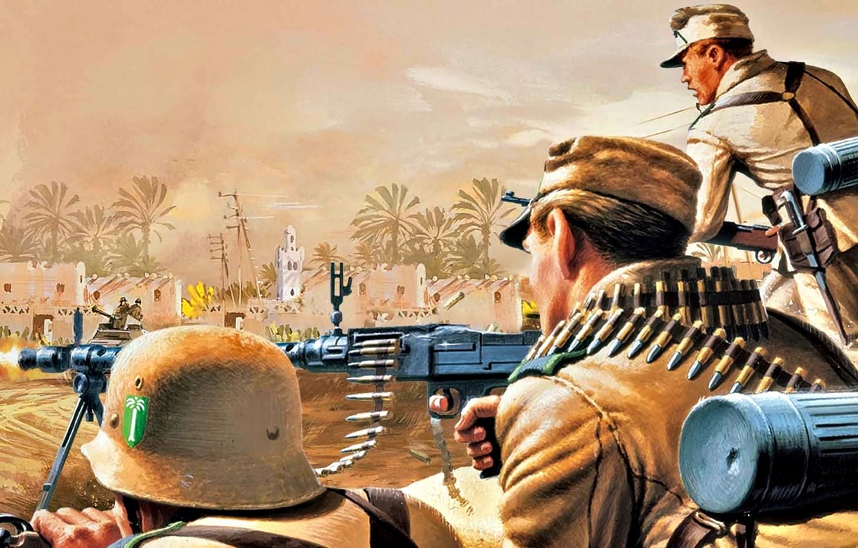 Photo wallpaper Soldiers, Machine gun, WWII, MG-34, DAK, German Afrika Korps, Machine gun 34, Gunner