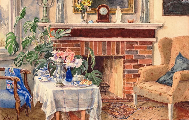 Photo wallpaper chair, the tea party, fireplace, table, Olga Kulikovskaya-Romanova