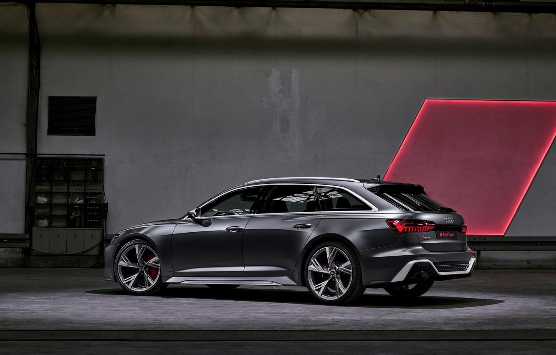Photo wallpaper Audi, side, universal, RS 6, 2020, 2019, dark gray, V8 Twin-Turbo, RS6 Avant