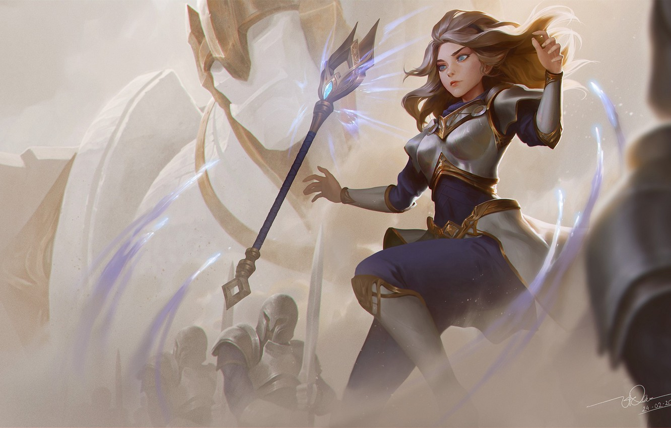 Wallpaper Knight Lux Girl League Of Legends Staff Images For
