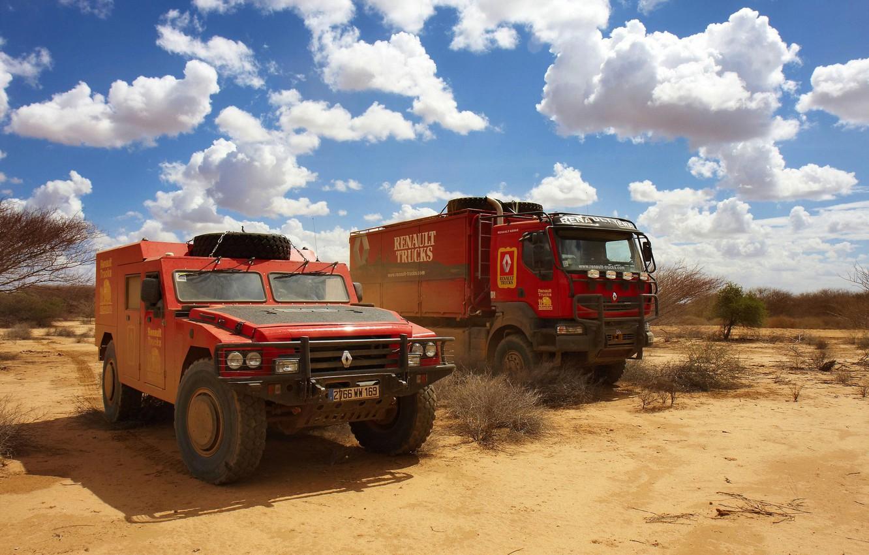 Photo wallpaper the sky, clouds, vegetation, desert, SUV, truck, Parking, red, Renault, Sherpa, Renault Trucks, Kerax