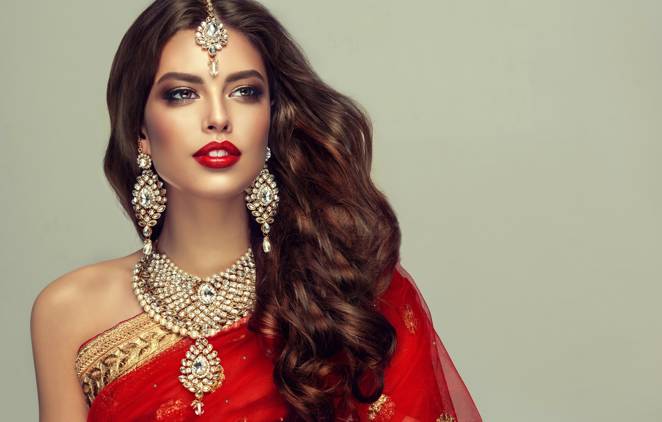 Photo wallpaper decoration, style, background, portrait, makeup, hairstyle, outfit, brown hair, beauty, Indian