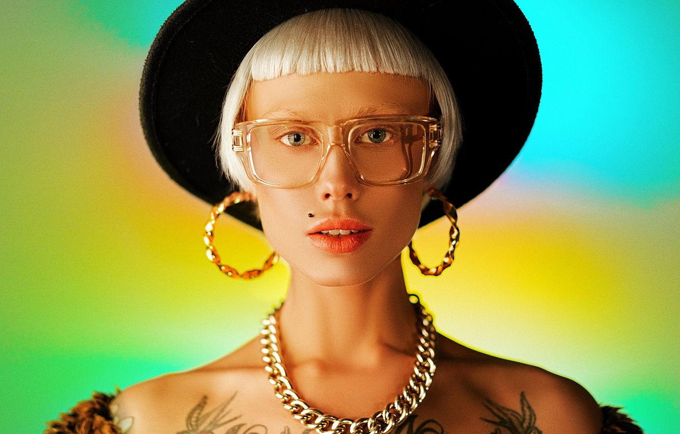 Photo wallpaper look, girl, face, background, haircut, portrait, earrings, tattoo, glasses, chain, hat, shoulders, Christina, Alexei Trifonov
