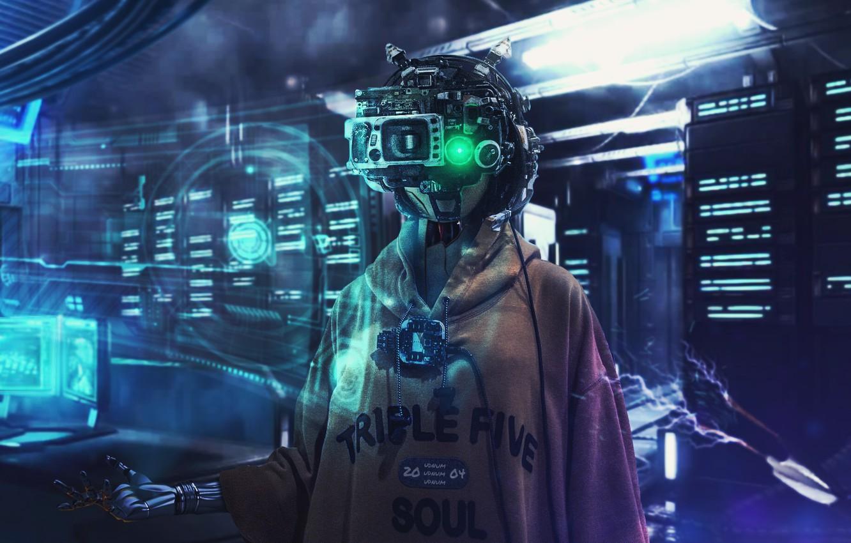 Photo wallpaper girl, mask, helmet, girl, cyberpunk, cyberpunk, cyber, cyber