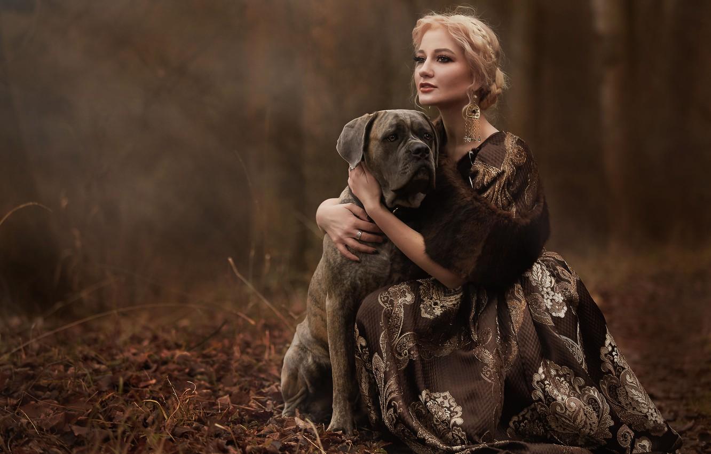 Photo wallpaper autumn, look, girl, decoration, nature, dog, earrings, dress, blonde, dog, Syrostan Oksana